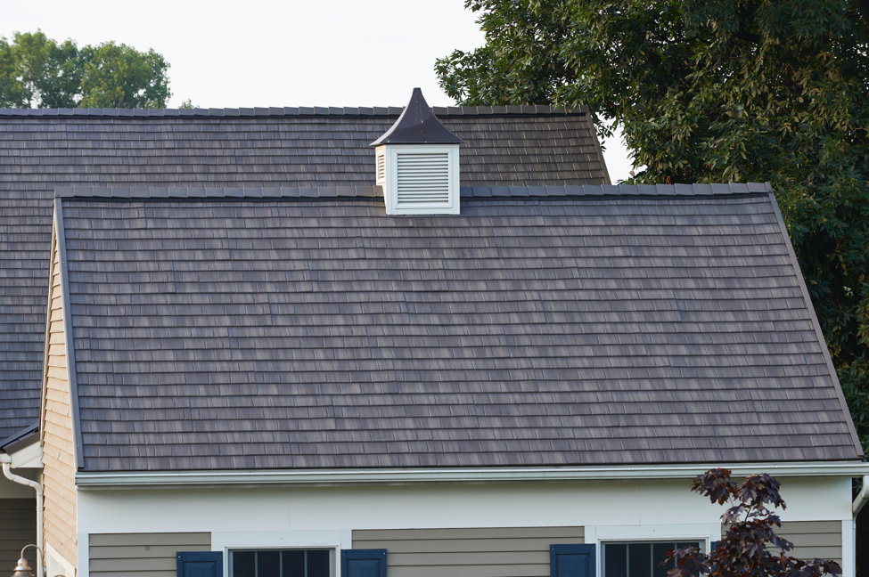 Shake-style roofing shingles.